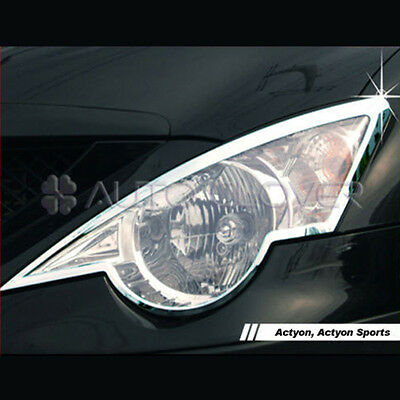 Chrome Head Light Lamp Cover 2P For 06 10 Ssangyong Actyon