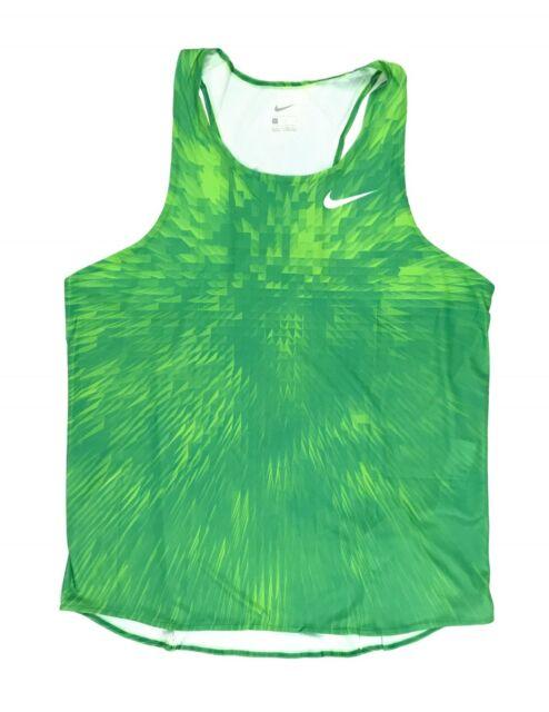 cd48dcebd6b3 New Nike Men s Large Digital Race Day Elite Running Singlet Track Green  835880