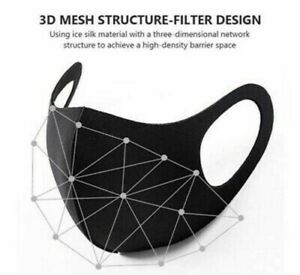 New Black Fashion Face Mask Washable And Reusable Face Cover Unisex Us Seller Ebay