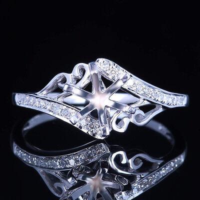 6MM ROUND 10K WHITE GOLD WEDDING ANNIVERSARY JEWELRY FINE DIAMONDS RING SETTING