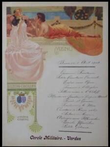 MENU ART NOUVEAU STYLE MUCHA, COGNAC CROIZET - 1904- LITHOGRAPHIE DOREE, VERDUN