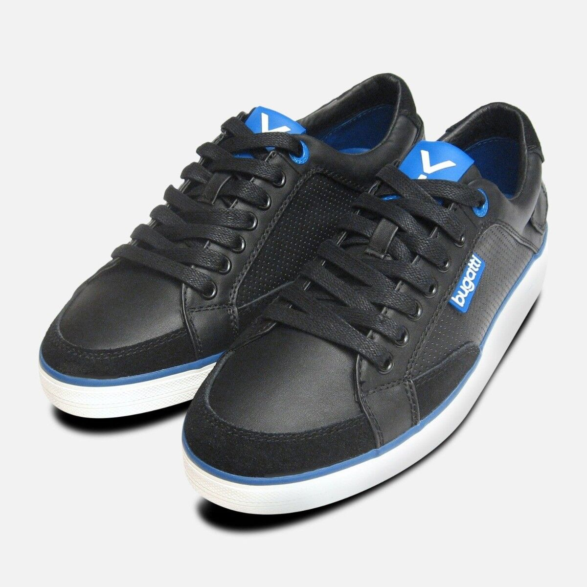 Black & Navy bluee Leather Mens Designer Trainers by Bugatti Sneakers