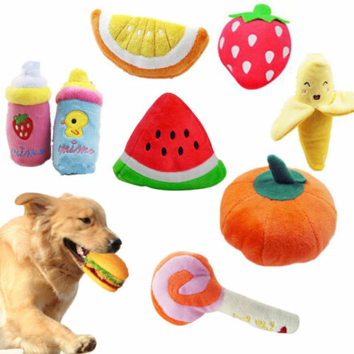 Funny Soft Plush Sound Squeaky Chew Toy Fruit Shape Pet Puppy Dog Toys Gifts