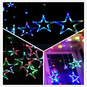 LED Lichterkette Sternenvorhang Lichtervorhang Beleuchtung mehrfarbig bunt Deko