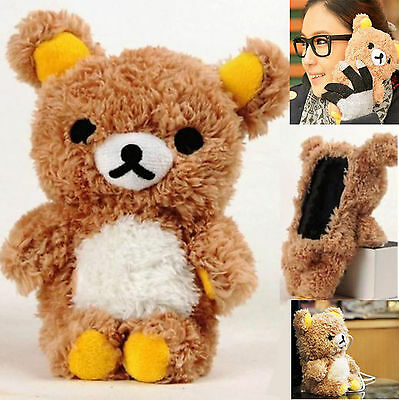 3D Luxury Cartoon Cute Animal Toy Teddy Bear Doll Plush Warm Phone Case Cover