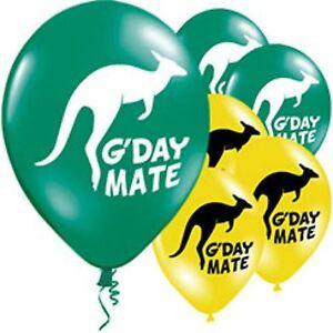 10-AUSTRALIA-DAY-PARTY-LATEX-BALLOONS-HELIUM-KANGAROO-YELLOW-GREEN-DECORATIONS