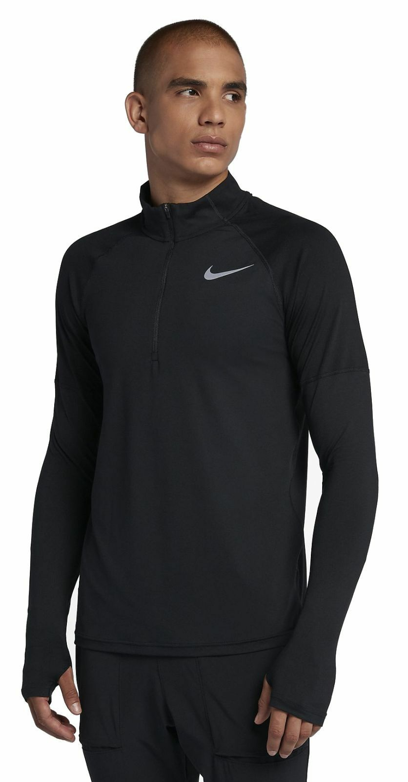 Nike Herren langarm Lauf Trainings Shirt Nike Element Top HZ 2.0 schwarz
