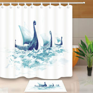 Image Is Loading Viking 039 S Ships In Ocean Watercolor Bathroom