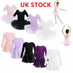 UK-Kid-Girl-Gymnastics-Ballet-Dance-Leotard-Dress-Cross-Back-Training-Tutu-Skirt