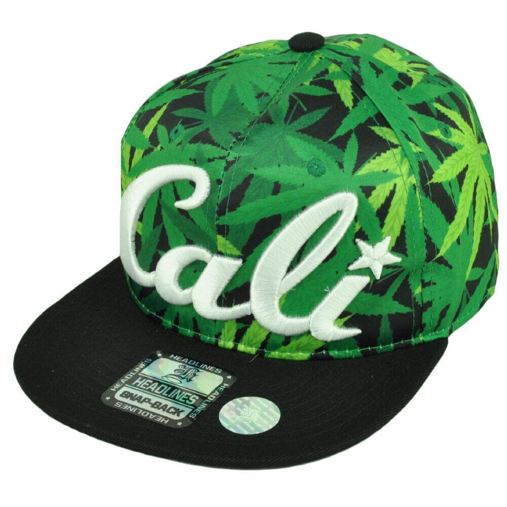 California Marihuana Grün Blumenmuster Krone Schwarz Flach Hut Kappe Snapback