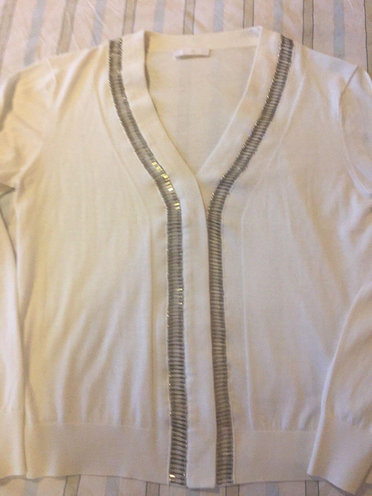 Chloe Luxurious Luxurious Luxurious Metallic Trim Sweater Sz Large Iconic Milk Cream Ivory Beige 4d29c9