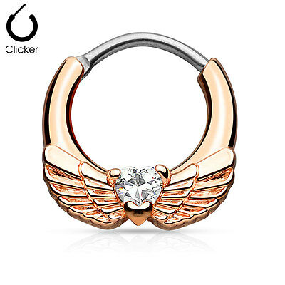 1pc Angel Wings w/Heart CZ Gem Septum Clicker Nose Ring Body Jewelry