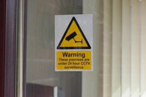 Warning CCTV 24 Hr Security Sticker Sign 150 x 100 x 4.