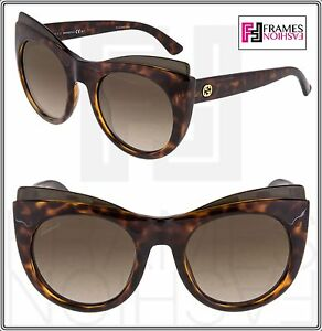 ad8cfdb72a Image is loading GUCCI-GG3781S-Oversized-Cat-Eye-Brown-Havana-Sunglasses-