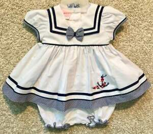 Will'beth Newborn Baby Girl Nautical Dress Bloomers Sz 0 NWT Gingham Bow Sailor