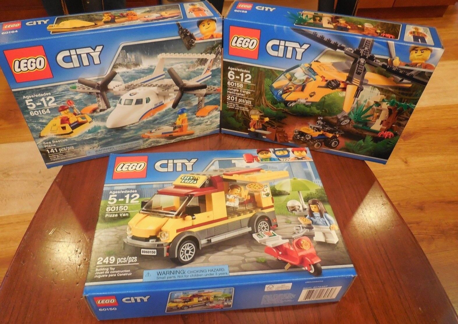 3-LEGO City Sets  Pizza Van 60150 Sea Plane 60164 Jungle Helicopter 60158 NEW