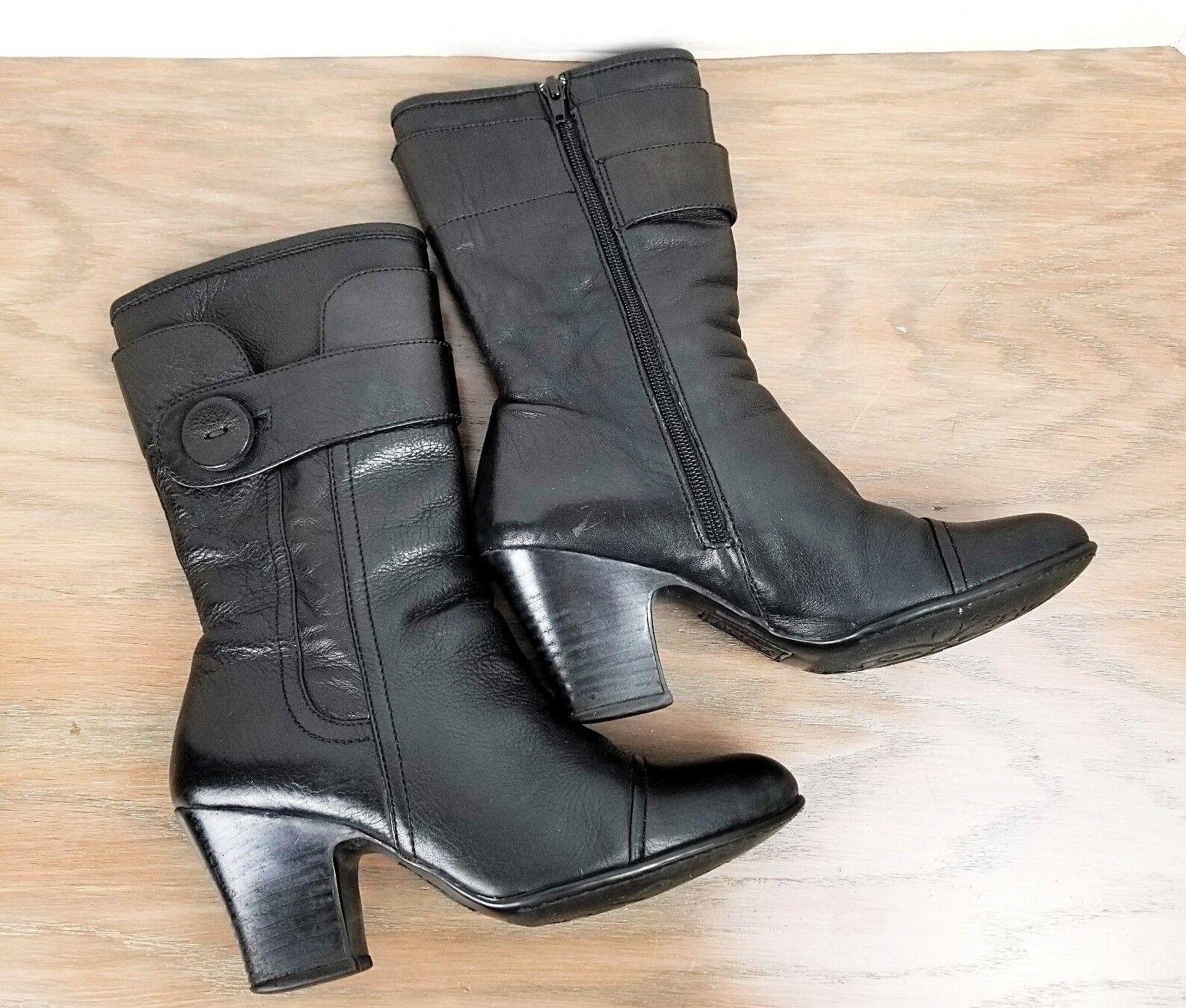BORN BORN BORN Leather Boots women size 7 Black Button detail zip up Mid Calf c89055