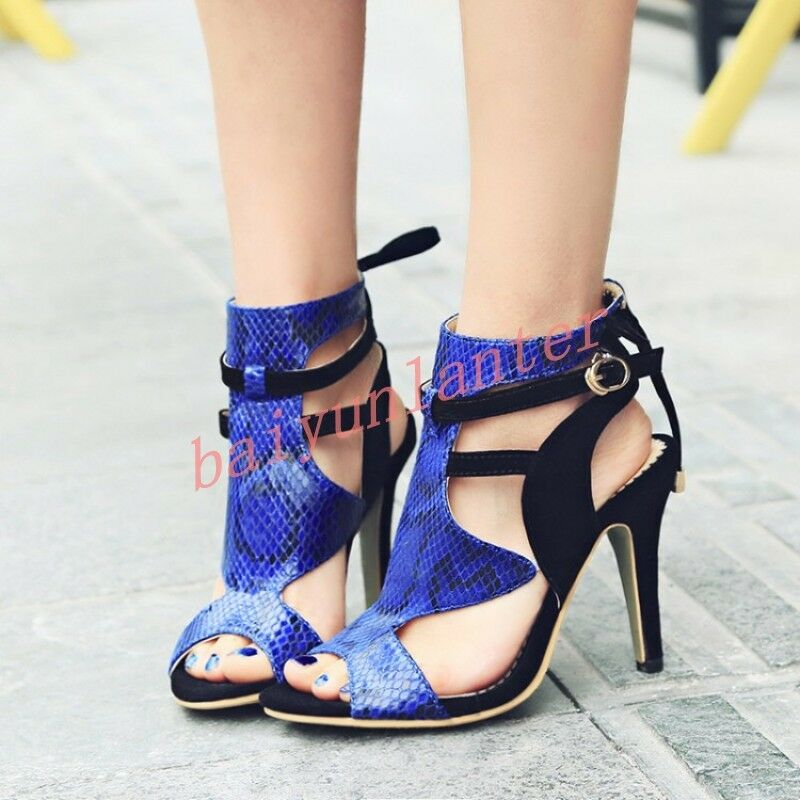 Ladies High Heels Sandals Roma British Style High Top colorfull Party Cut shoes