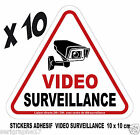 Lot de 10 stickers adhesif camera video surveillance / format 10x10cm / ref SV01