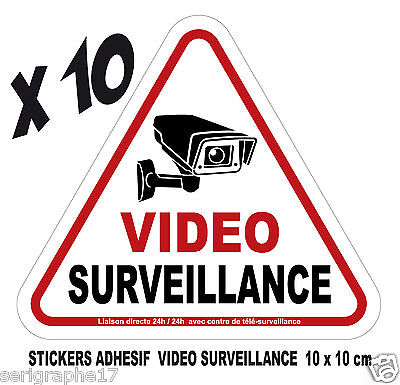 Lot de 10 stickers adhesif camera video surveillance / format 10x10cm / ref SV01
