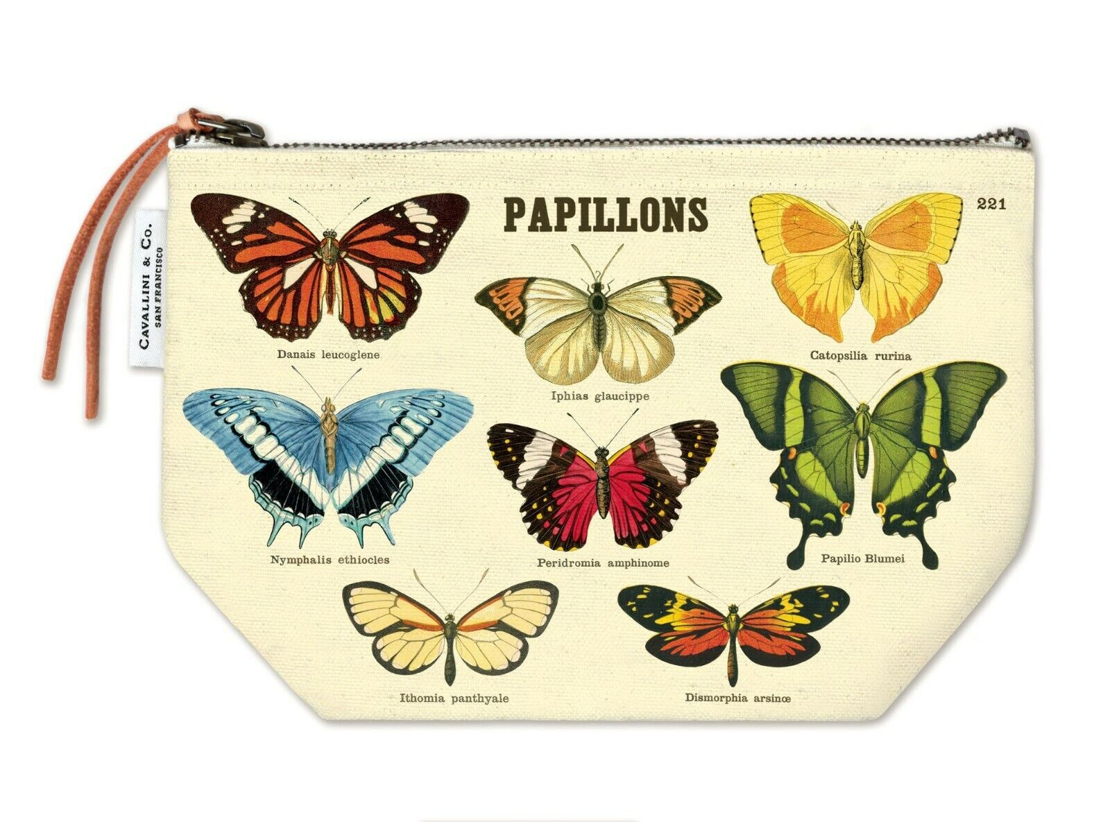 Cavallini & Co. Vintage Style Canvas Pouch, Butterflies Pouch with Leather Pull