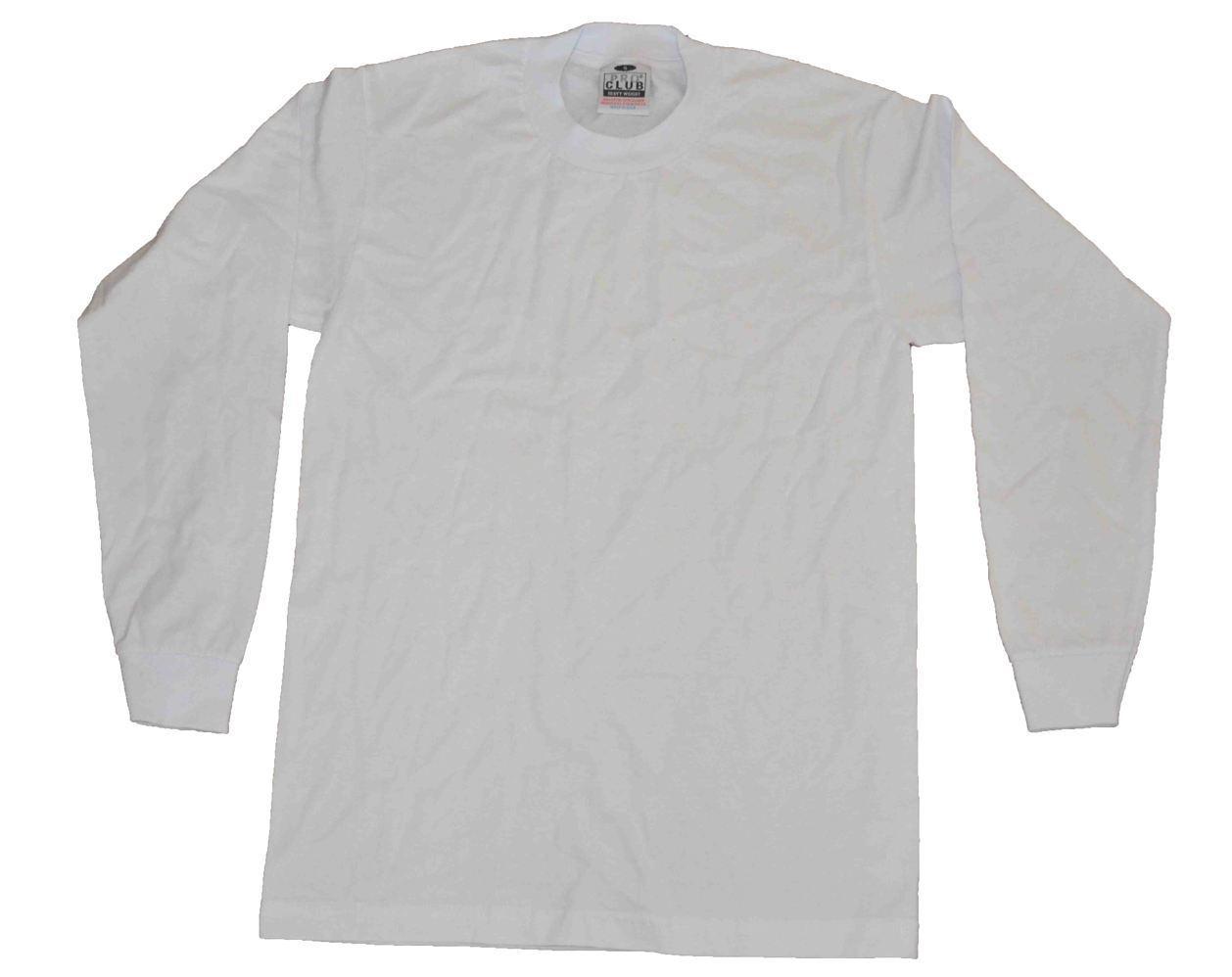 Pro Club Heavyweight T-shirt 100% Cotton-WHITE-2XLarge-LONG SLEEVE-Set of 6 pcs