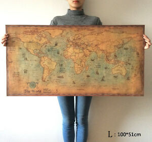 Large Vintage Map Of The World.World Map Poster Large Vintage Navigation Map Sea Monster Coffee