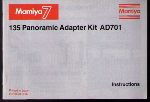 MAMIYA 7II/7 PANORAMIC ADAPTER KIT INSTRUCTION (ORIGINAL PRINT JAPAN/not copies)