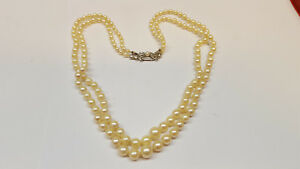 9a0f6d99ac2df9 Two-Row Akoya Pearl Necklace 585 Gold Lock Pearls Pearl Collier | eBay