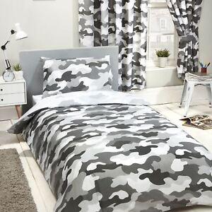 Armee-Camouflage-Gris-Housse-Couette-Simple-amp-D-039-Oreiller-Set-Garcons-Chambre