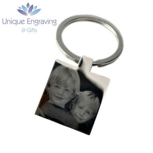 Valentine/'s Day Gift! Personalised Photo Engraved Square Keyring Keychain
