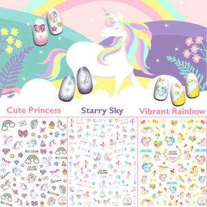 Unicorn-Nail-Art-Stickers-Self-adhesive-Rainbow-Pure-Fantasy-Dreamy-Mystical