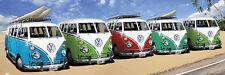 Huge Wall-Sized SURFING CARAVAN Volkswagen VW Buses California Beach POSTER