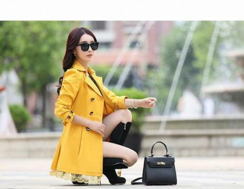 Chic Women Lapel Double Breasted Belt Slim Fit Mid Long Lace Trench Coat Jacket