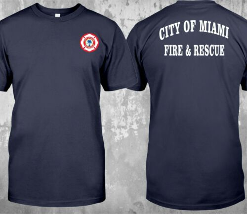 NEW City Of Miami Fire Rescue Fire Department Firefighter Custom T-Shirt