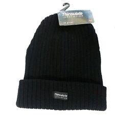 Mens Womens Black Thinsulate Chunky Beanie Ribbed Hat Thermal Ski Hats 40G 3M UK