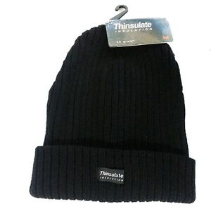 33191cf23 Details about 3M Black Thinsulate Chunky Fleece Beanie Hat Thermal Ski Hats  Mens Womens Adults