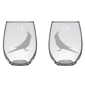 Set Of Two Cockatiel Hand Engraved Stemless Wine Glass