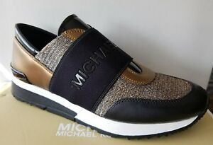 ff71aeda1a89 Michael KORS TRAINER MK Glitter Chain Mesh Silver Bronze Sneakers I ...