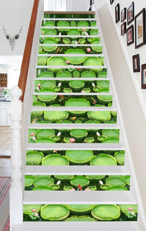 3D Jade Lotus 472 Stair Risers Dekoration Fototapete Vinyl Aufkleber Tapete DE