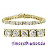 "5.7 ct F VS round diamond 4prong square box tennis bracelet 14k yellow gold 7.5"""