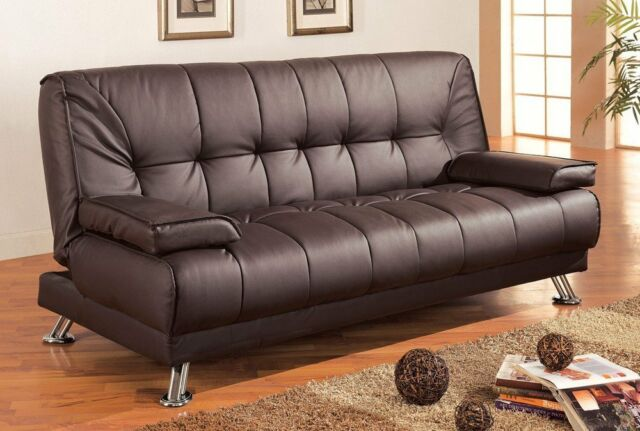 Coaster Futon Sofa Bed With Removable Arm Rests Brown Vinyl Ebay