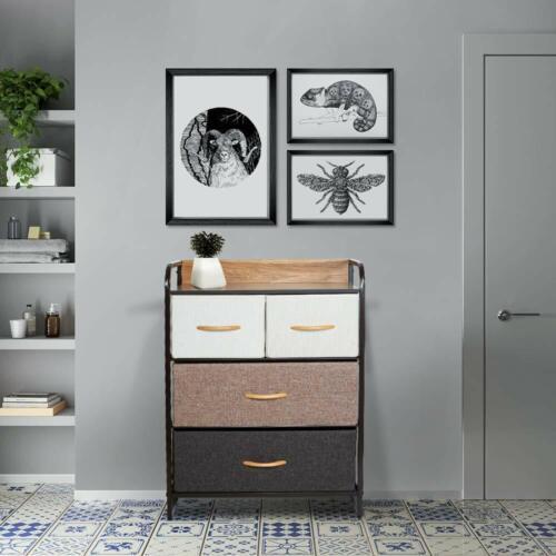 Chest of Fabric Drawers Dresser Furniture 3//4//5 Bins Bedroom Storage Organizer