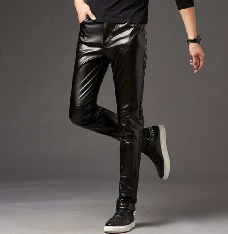 Slim Fit Mens Mid Rise Skinny Pants Casual Trousers Shiny Fabric Stage Show Pant