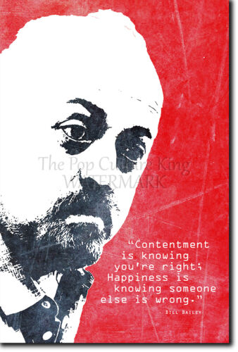 "BILL BAILEY /""HAPPINESS/"" ART PRINT PHOTO POSTER GIFT QUOTE BAILY"