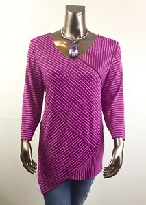 CHICO-039-S-NEW-SIZE-3-XL-PURPLE-WHITE-CROSS-STRIPE-3-4-SLV-TUNIC-85