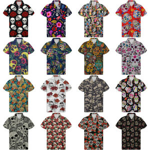 Mens Summer Sunflower Pattern Long Sleeve Holiday Casual Shirt Tops Size S-2XL