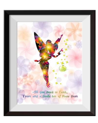 Uhomate Princesss Tinkerbell Peter Pan Poster Art Print Nursery Wall Decor C015