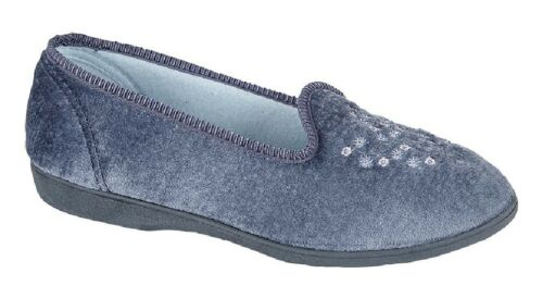 Sleepers Nieta LS777 Soft Plain Embroidered Washable Slippers Blueberry Velour