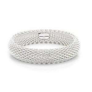 New 925 Sterling Silver Filled Tight Twist Mesh Cuff Bangle Women/'s